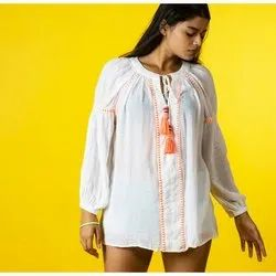 Chiffon Kaftan with Fluorescent Lace and Tie