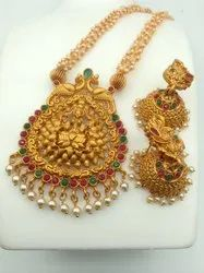 Sapna FX Copper Pearl Temple Jewellery Set - J 310