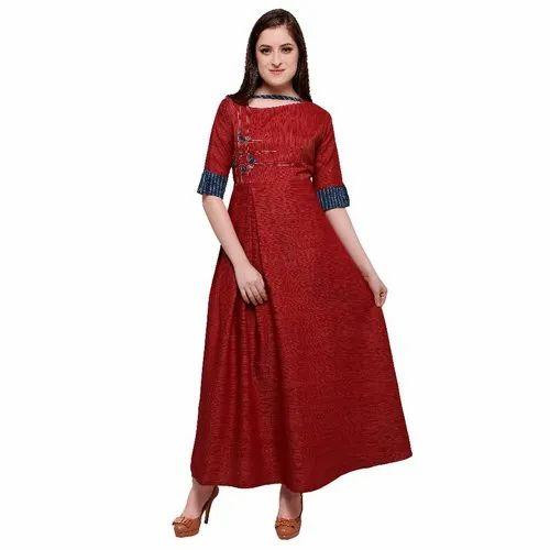 3572a0a082 Designer Online Rahbar Mahron Color Rayon Kurtis at Rs 580 /piece ...