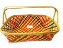 Multicolor Bamboo Handle Basket