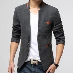 Stand Collar Slim Fit Mens Cotton Blazers