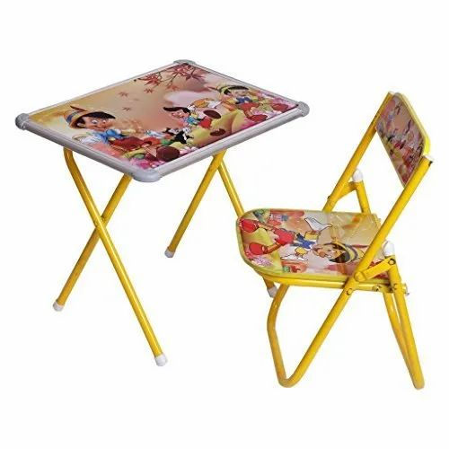 Plastic And Iron Foldable Kids Study Table Chair Set Rs 550 Set