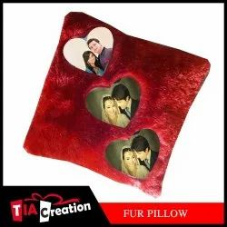 Sublimation Square Pillow Big Fur Red Blank 24x24inch, Packaging Type: 1pc