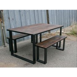 Brown Wooden Dining Table And Bench