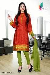 Red and Light Green Italian Crepe Uniform Salwar Kameez