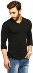 V Neck Cotton Full Sleeves Plain Cotton T Shirt