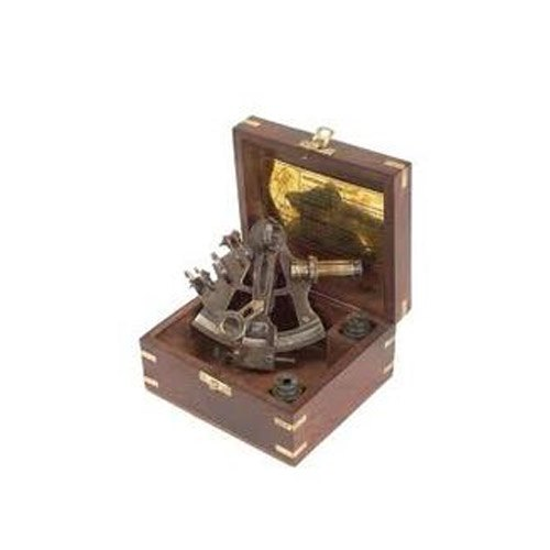 Nautical Antique Sextant with Rose Wooden Box, Packaging Type: Corrugated Box
