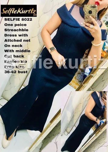 Selfie Blue Round Neck One Piece Dress N V Multistore Id 20063230062