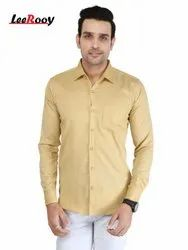LeeRooy Men's Solid Casual Skin Plain Shirt, Size: M