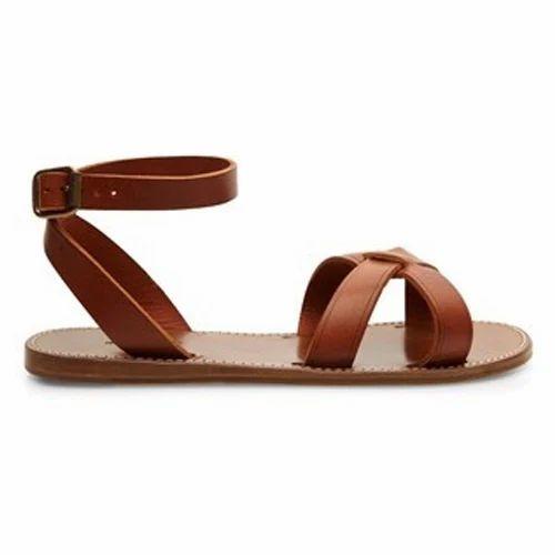 2f57ffe9fb5a Brown Casual Wear Ladies Flat Leather Sandal