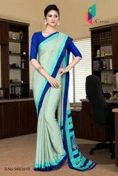 Crepe Uniform Printed Saree with Blouse Piece
