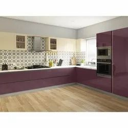 L Shape Lacquered glass Modular Kitchen, Warranty: 5 Years