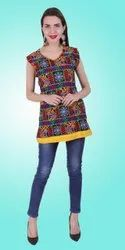 Dot Exports Straight Cotton Traditional Embroidered Kurti