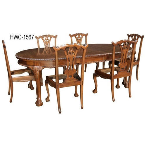 Oval Shaped Wooden Dinning Table Set