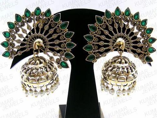 18be2cea8efac Big Peacock Style Green Jhumki Earring