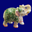 White Marble Handmade Gemstone Inlaid Elephant