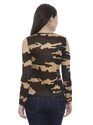 Ladies Cold Shoulder Camouflage T Shirt
