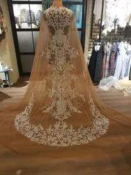 Beige Net Bridal Gown, Round