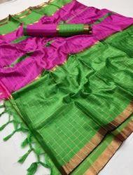 Cotton Silk Block Printed Saree, Length: 6.3 m