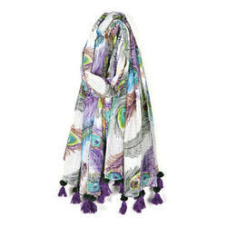 Cotton Beach Floral Printed Pareo with Tassels