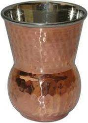 Copper Steel Dholak Glass
