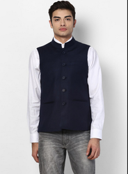 Navy Solid Collar Jacket