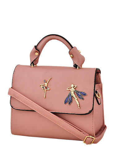 53d046e1b3d8 Premium PU Leather Plain Baby Pink Designer Ladies Hand Bag with Long Belt