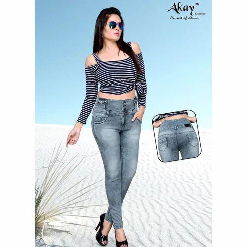 c9b0ba6a0 Akay Mid Waist 4-Buttons Skinny Fit Jeans for Women, Women Jeans ...