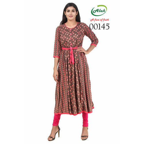184639c7cd7 Cotton 3 4th Sleeve Frock Style Casual Kurtis