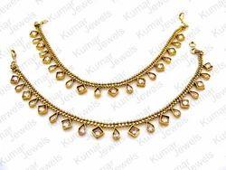 Engagement , Wedding Gold Designer Polki Stone Anklets