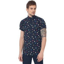 Printed Blue Half Sleeve Men Casual Cotton Shirt