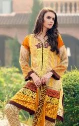 lala Cotton Pakistani Designer Suits, Machine wash