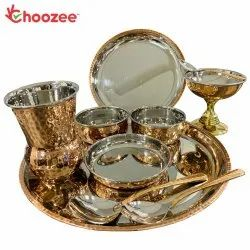 Choozee - Copper Thali Set (10 Pcs) of Plate, Bowl, Spoon, Matka Glass & Ice-Cream Cup