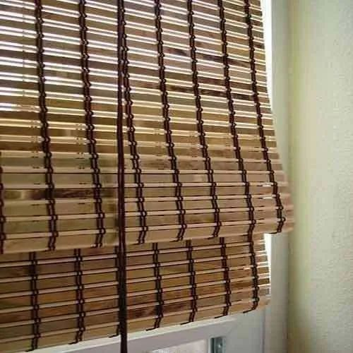 Brown Modern Bamboo Roll Up Blind, For Restaurant