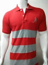 Cotton Mens Striped Polo T Shirt