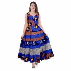 Casual Wear Blue Printed Cotton Jaipuri Midi, Size: XL, Wash Care: Machine Wash