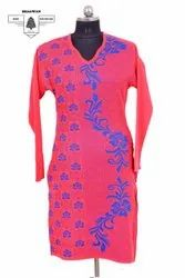 Arrezo Woolen Self Designed Pocket Kurtis