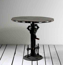 Industrial Cast Iron Crank Mechanism Coffee Table