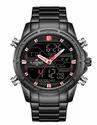 Naviforce Round Casual Nf9138 Black-red Stainless Steel Analog-digital Men