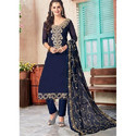 Blue Embroided Party Wear Suit