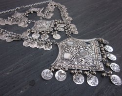 Womens Tribal Boho Silver Coin Necklace Layered Hippie