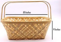 Bamboo Rectangular Designer Basket Natural (With Handle)