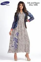 Rayon Kurti with Printed Jacket