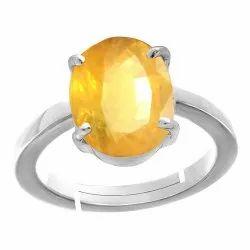 Pukhraj 9.25 Ratti Ring Silver Gemstone