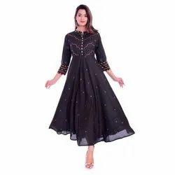 Casual Wear 3/4th Sleeve Trendy Anarkali Rayon Kurti, Size: S-xxl, Handwash