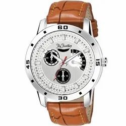 Round Fly Feather Analog Silver Dial Watch For Men''S-Boy''S, For Formal