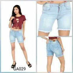 Light Blue Cotton Shorts For Women