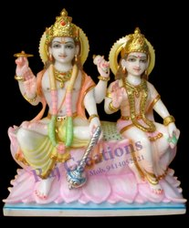 Raj Creations Marble Vishnu Lakshmi Statue