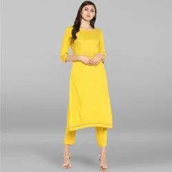 Yellow Rayon Kurta With Pant(SET051)