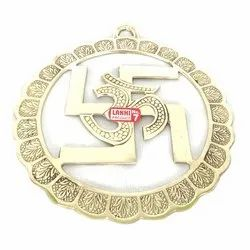 Golden Round Embossed Brass Swastik, For Puja